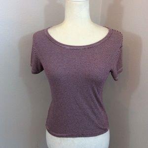 BRANDY MELVILLE Maroon Burgundy White Stripe Shirt
